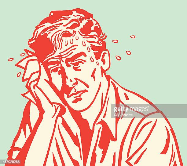 red carton outline of sweaty sad man on blue background - heat stock illustrations