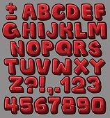 Red cartoon alphabet
