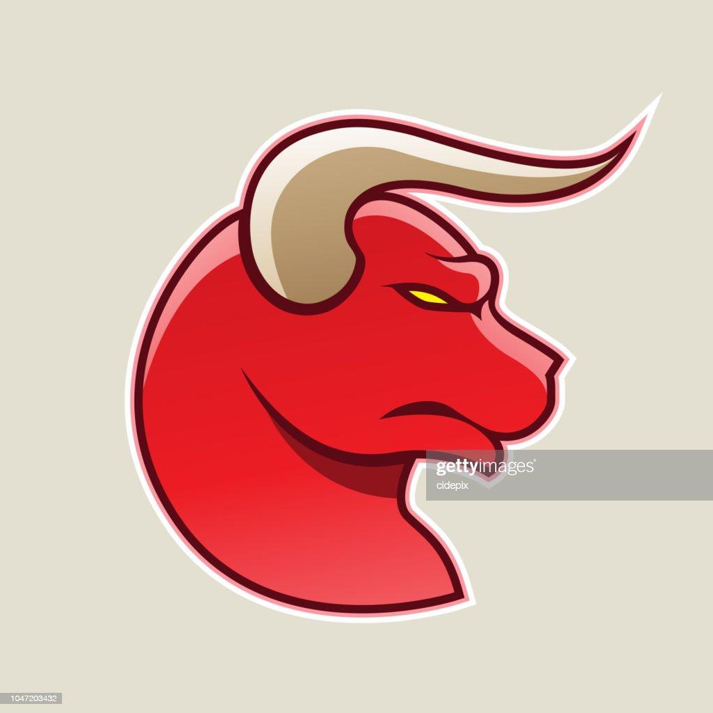Red Cartoon Bull Icon Vector Illustration