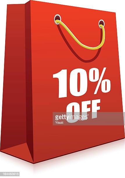 a red cartoon depiction of a shopping bag with words - goodie bag stock illustrations, clip art, cartoons, & icons