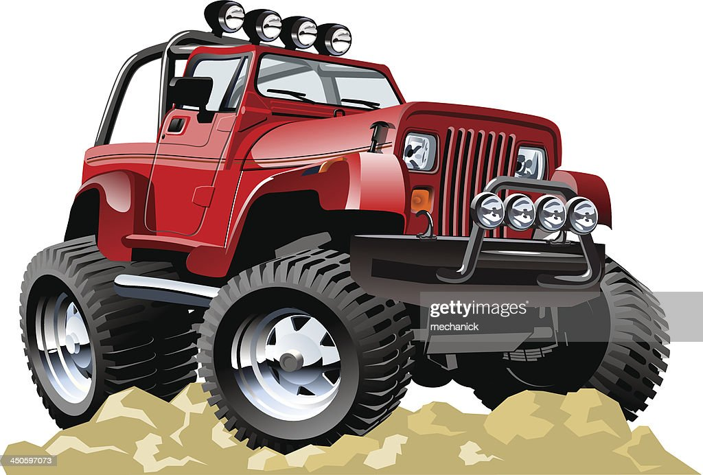 Red cartoon jeep atop rocky ground