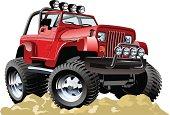 Red cartoon jeep atop rocky ground