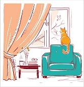 Red cat watching birds near the window.Interior room