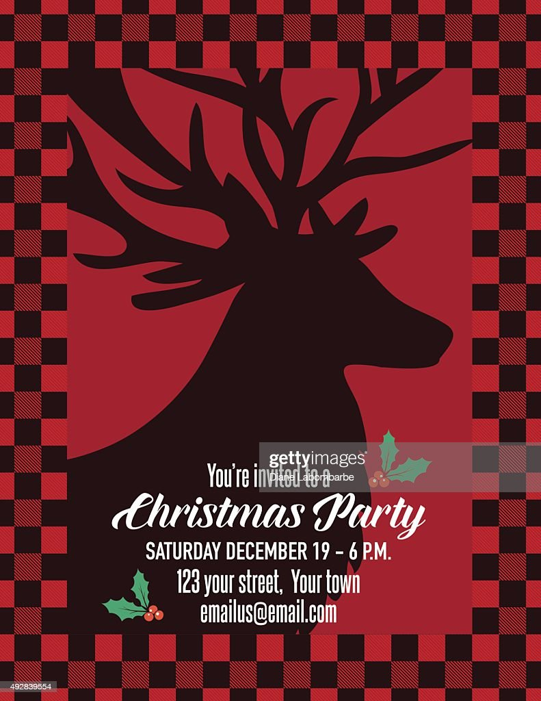 Red Checked Plaid Holiday Dinner Party Invitation Vector Art ...