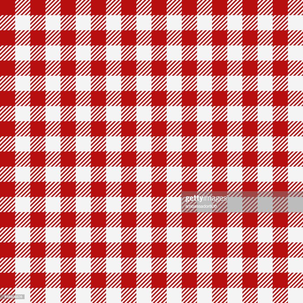 Red checkered texture, restaurant seamless pattern, kitchen tablecloth background, plaid wallpaper