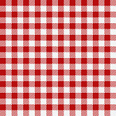 Red checkered texture, restaurant seamless pattern, kitchen tablecloth background, plaid wallpaper