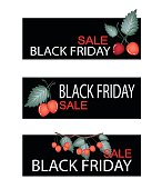 Red Cherries on Black Friday Sale Banner