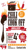 Red Chili cookoff invitation design template on white background