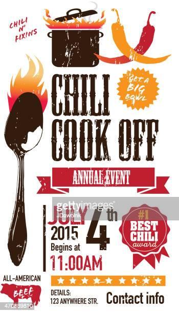red chili cookoff invitation design template on white background - chili pepper stock illustrations