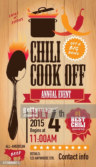 red chili cookoff invitation design template on wooden