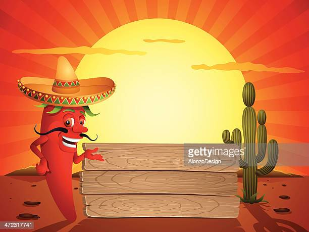 red chili pepper in the mexican desert - mexican food stock illustrations, clip art, cartoons, & icons