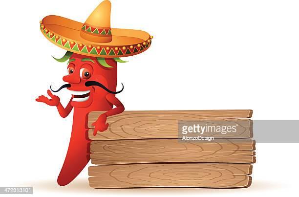 red chili pepper - sombrero stock illustrations