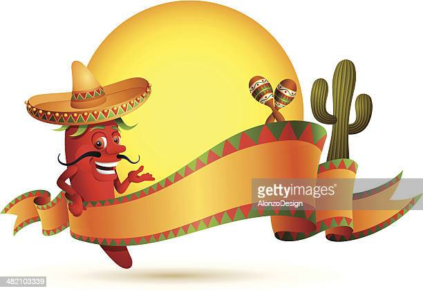 red chili pepper with banner - mexican food stock illustrations, clip art, cartoons, & icons