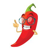 Red chilli pepper funny cartoon character