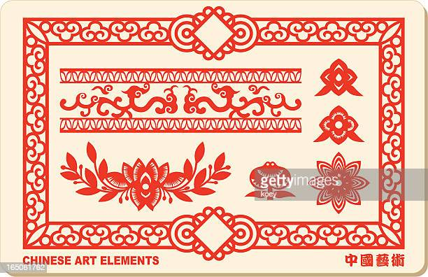 red chinese art elements set as background - chinese decoration stock illustrations