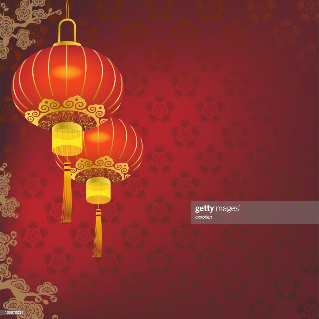 Red Chinese lantern in red and gold
