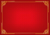 red chinese little fan abstract background with golden border