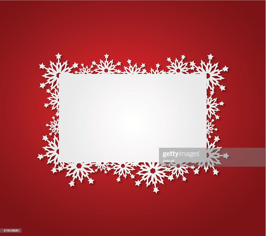 Red Christmas background with paper snowflakes