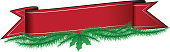 Red Christmas Banner with Green Spruce Pine Needles and Holly Leaf & Berries Garland