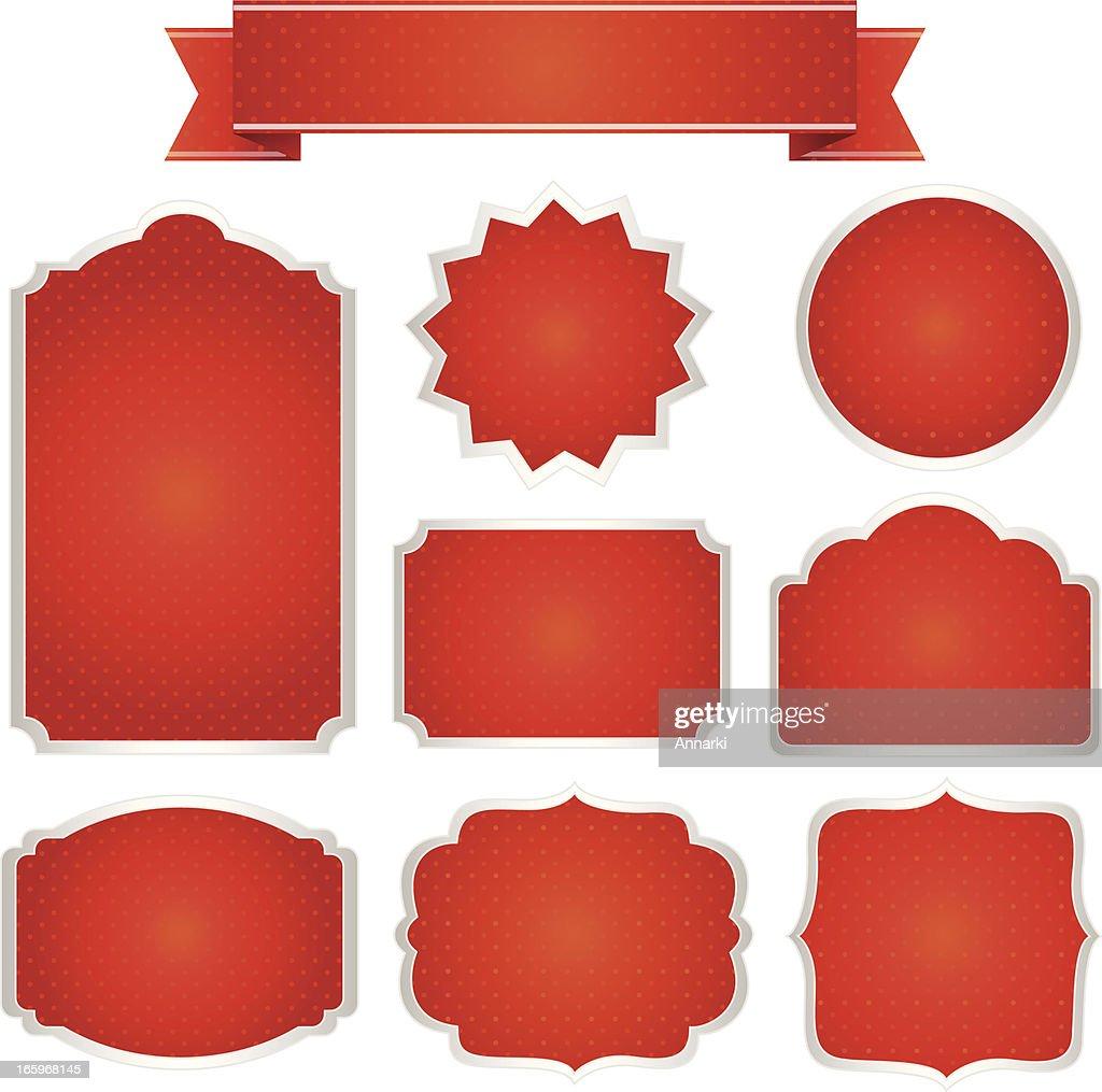 Rot Weihnachten Frames Set Vektorillustration Vektorgrafik | Getty ...