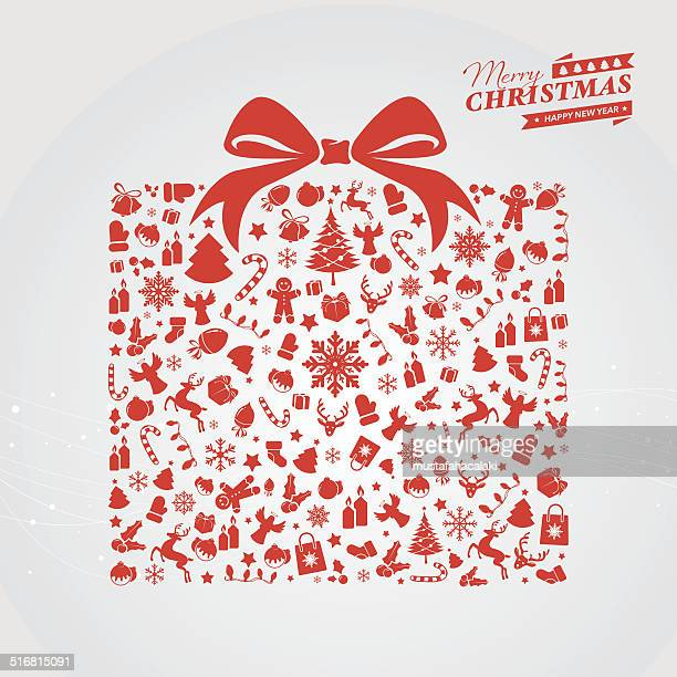 red christmas gift box - christmas decore candle stock illustrations