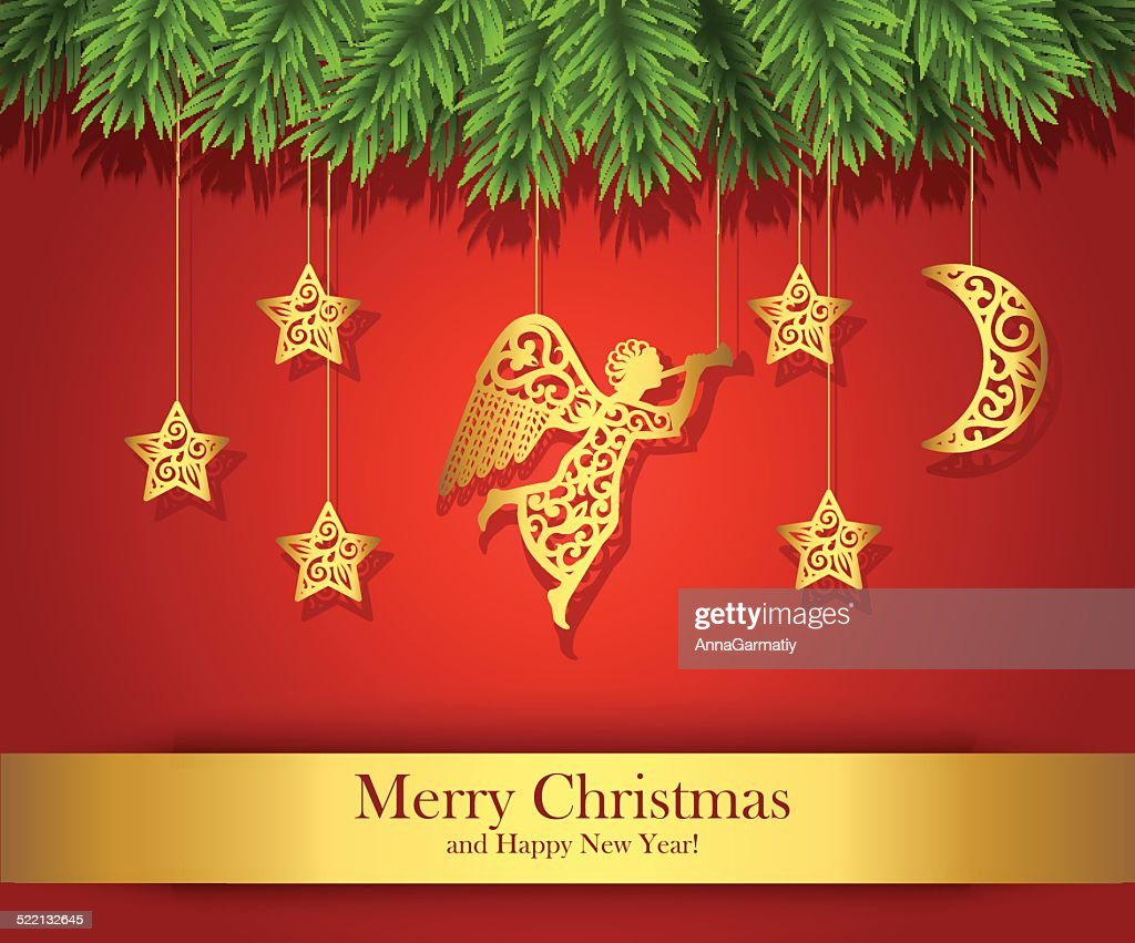 Red Christmas greeting card decorated with gold angel