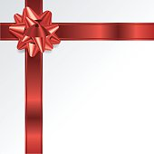 Red Christmas Holiday Bow and Ribbon Background