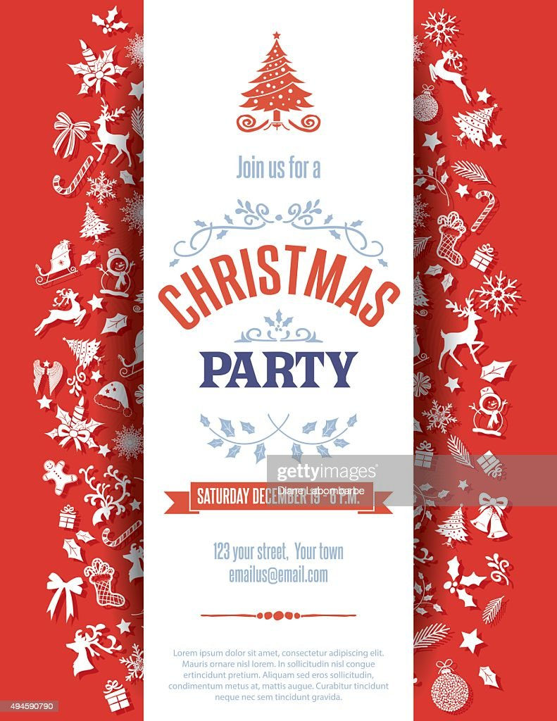 Red Christmas Party Invitation Template : Vector Art