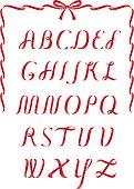 Red christmas satin ribbon alphabet