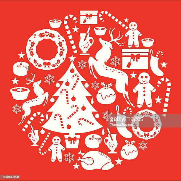red christmas set - mulled wine stock illustrations, clip art, cartoons, & icons