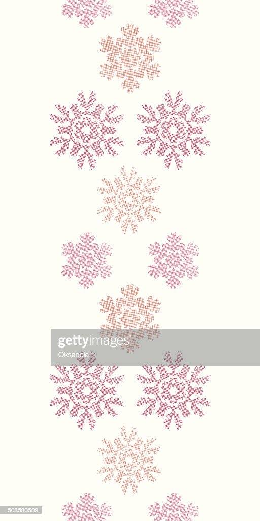 Rot Schneeflocken Weihnachten geometrischen Textile Textur vertikale Nahtlose Muster Hintergrund : Vektorgrafik