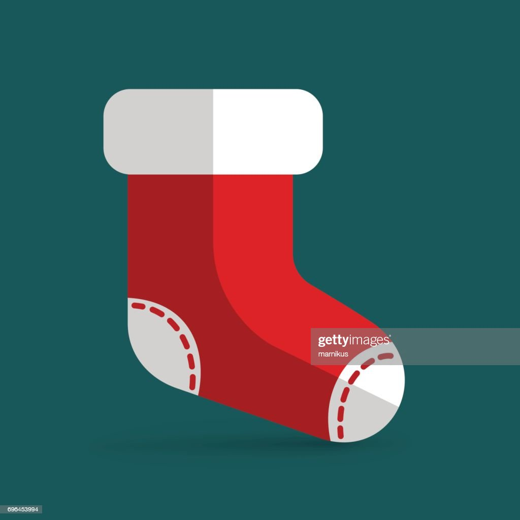 Roter Weihnachtsstrumpf Für Geschenke Bunte Vektorillustration ...