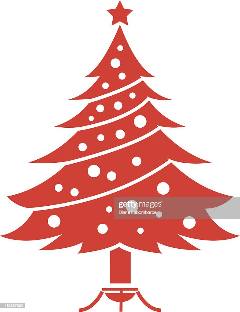 Red Christmas Tree Icon Stockillustraties Getty Images
