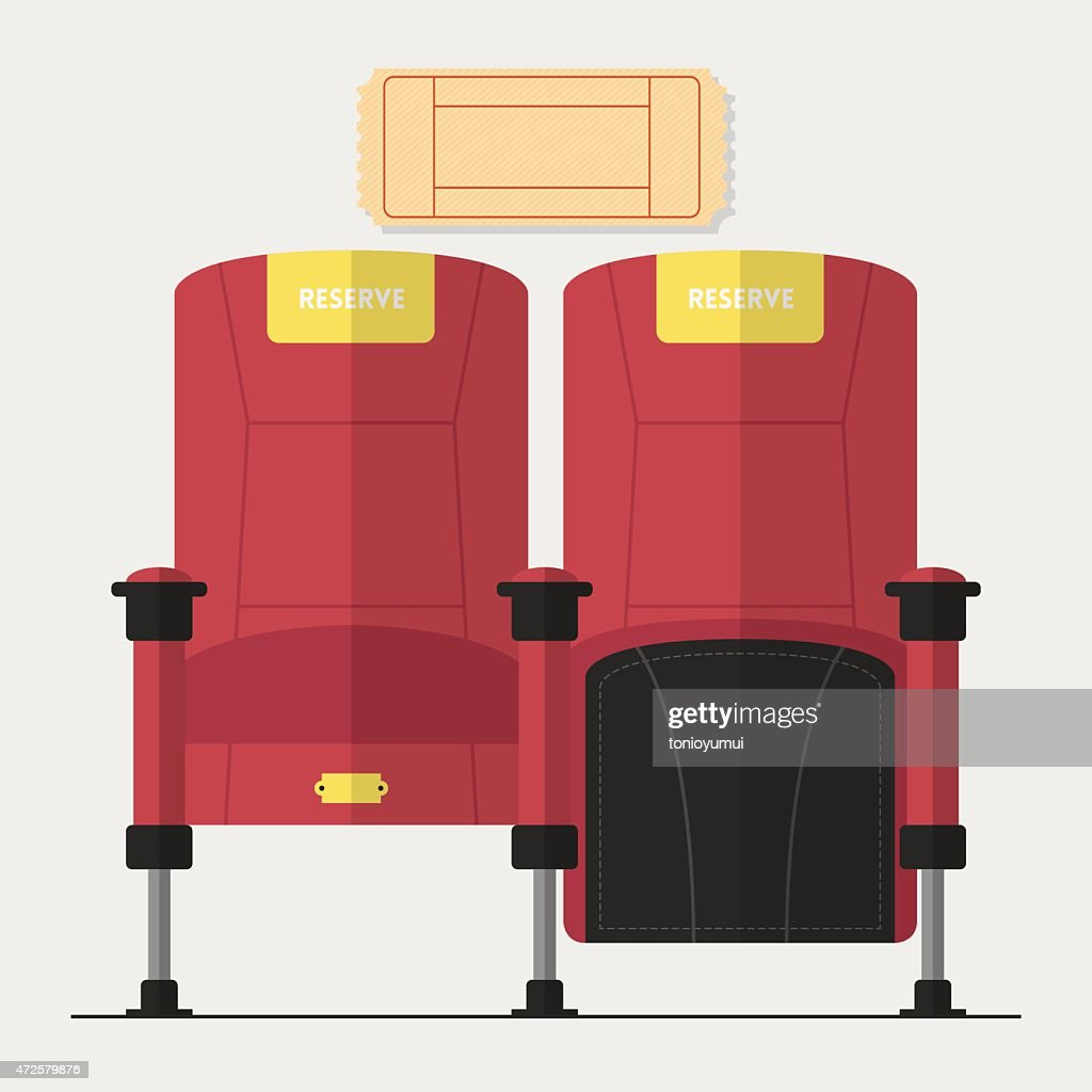 Red cinema chair in flat design with blank movie ticket.