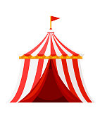 Red circus tent with flag. Amusement park concept. Vector illustration isolated on white background. Website page and mobile app design