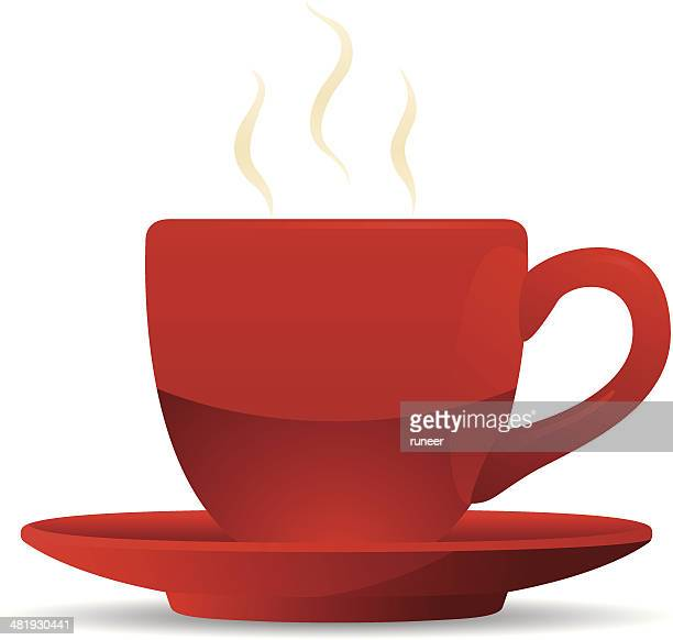 red coffee cup and saucer - coffee break stock illustrations, clip art, cartoons, & icons
