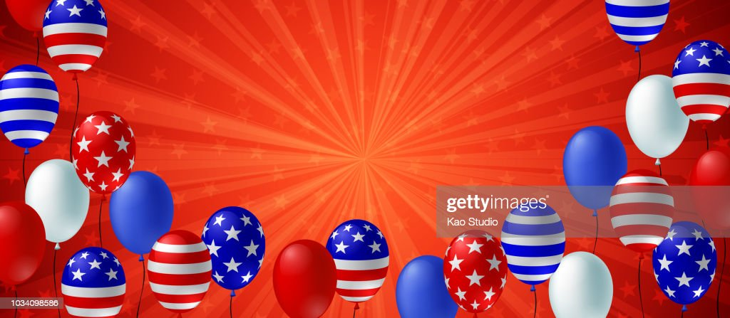 Red color burst background poster flyer banner. American flag balloon vector design. Holiday celebration concept template.