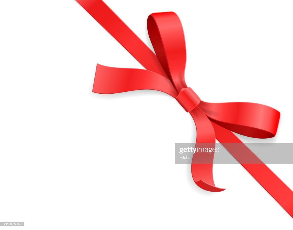 Red color satin bow knot and ribbon isolated on white background. Vector illustration 3d top view