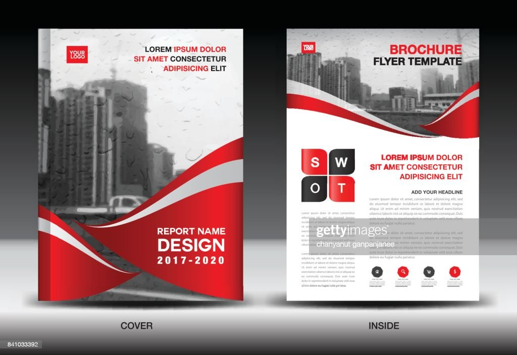 Red Color Scheme with City Background, Book Cover Design Template in A4, Business Brochure flyer, Annual Report, Magazine, company profile