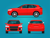 Red compact CUV isolated. Car CUV with side view, back view and front view.  Vector flat style illustratio