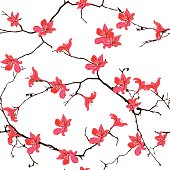 Red cotton tree chinese seamless vector print