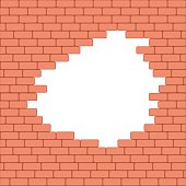 Red crashed brick wall texture background. Vector illustration.