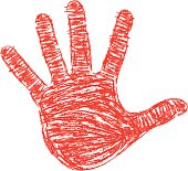 Red Crayon drawn right hand print