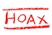 Red Crayon Sign Effect - Hoax, Isolated on White