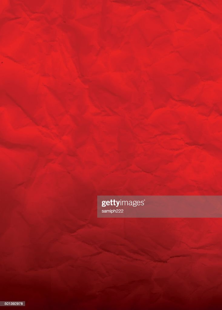 red crumpled paper - background