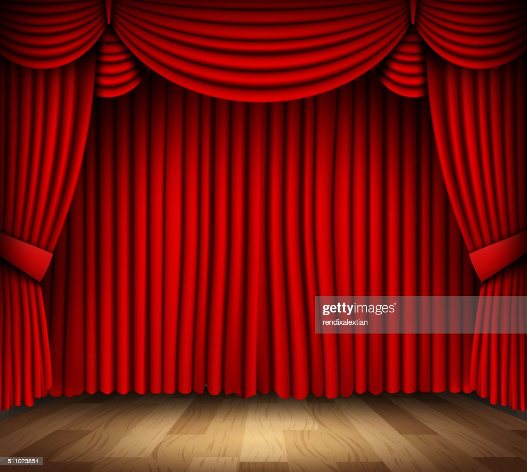 Red curtain of classical theater with wood floor