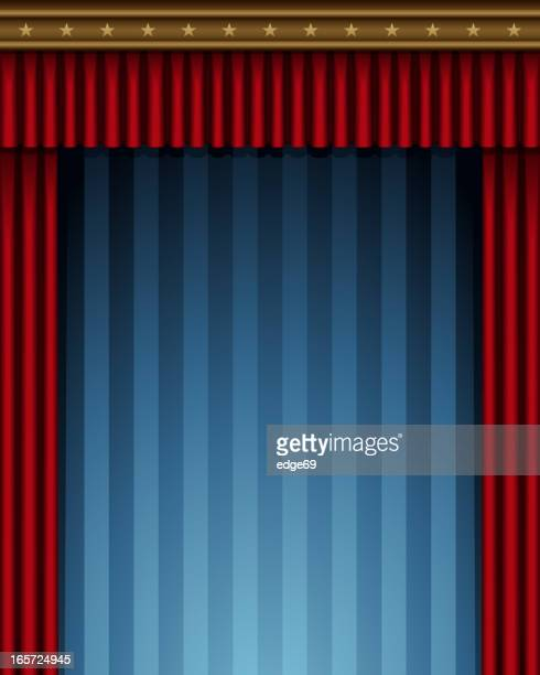 Red curtain stage frame