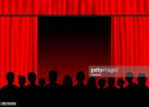 Red Curtain (People Are Complete- Clipping Path Hides Legs)