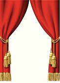 Red curtains illustration on white background