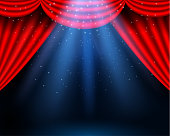 Red curtains partiers theater scene. Theater stage, festival and celebration background. glowing stage lights